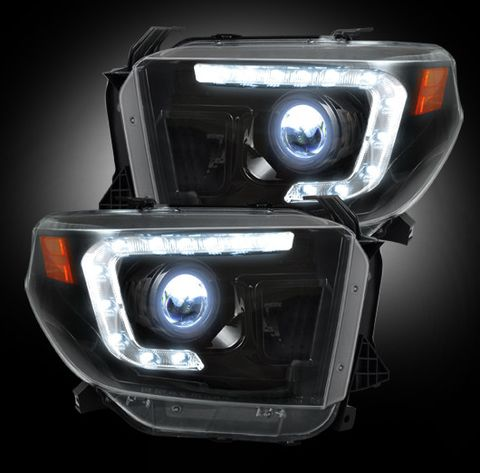 Toyota Tundra 14-17 PROJECTOR HEADLIGHTS w/ Ultra High Power OLED DRL -- Smoked / Black