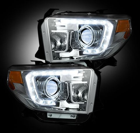 Toyota Tundra 14-17 PROJECTOR HEADLIGHTS w/ Ultra High Power OLED DRL -- Clear / Chrome