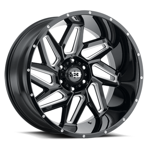 361 SPYDER GLOSS BLACK MILLED; 20X9; 6X135