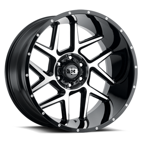 360 SLIVER GLOSS BLACK MACHINED FACE; 20X9; 6X135