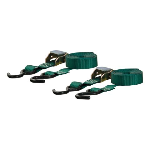 15ft. Dark Green Cargo Straps with S-Hooks (300 lbs; 2-Pack)