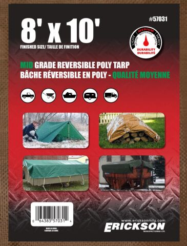 6'x8' Reversible Mid Grade Poly Tarp Brown/Green