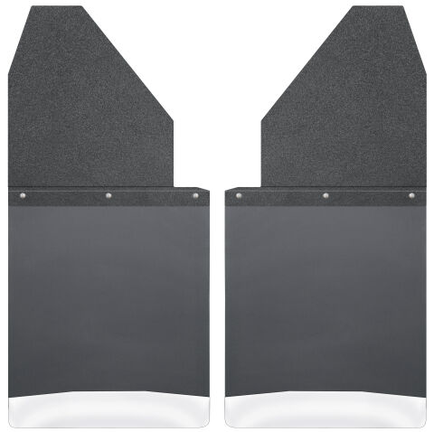 Kick Back Mud Flaps 14 Wide - Black Top and Stainless Steel Weight