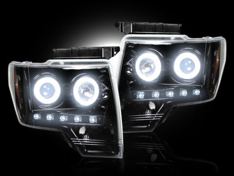 Projector Head Lights - Smoked Black Chrome