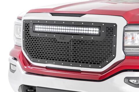 GMC Mesh Grille w/30in Dual Row Black Series LED (16-18 Sierra 1500)