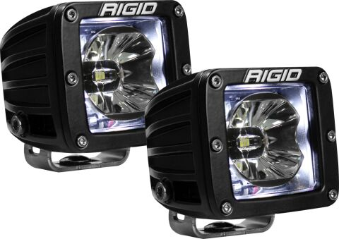 RIGID Radiance Pod With White Backlight; Surface Mount; Black Housing Pair