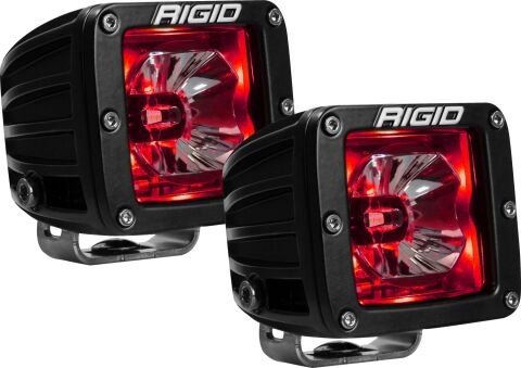 RIGID Radiance Pod With Red Backlight; Surface Mount; Black Housing Pair
