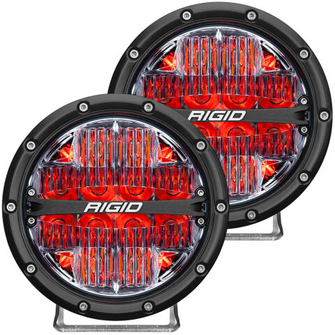 RIGID 360-Series 6 Inch Off-Road LED Light; Drive Beam; Red Backlight Pair