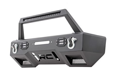 Front Stealth Stubby Winch Bumper w/ Hoop & Black Series LED Lights