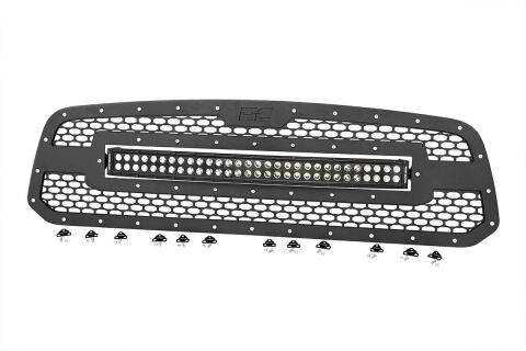 Ram Mesh Grille w/30in Dual Row Black Series LED (13-18 1500)